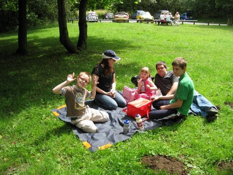 THE ROGERS FAMILY ENJOY THE PICNIC ON THE GRASS